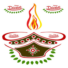 Abstract candle for Diwali holiday, ornament silhouette for design on white background,
