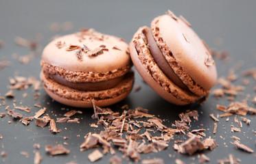 Foto auf Acrylglas Macarons duo de macaron biscuit a la meringue