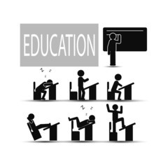 chair table pupil classroom icon vector illustration EPS 10
