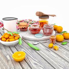 3d render of fruits table, tangerines.