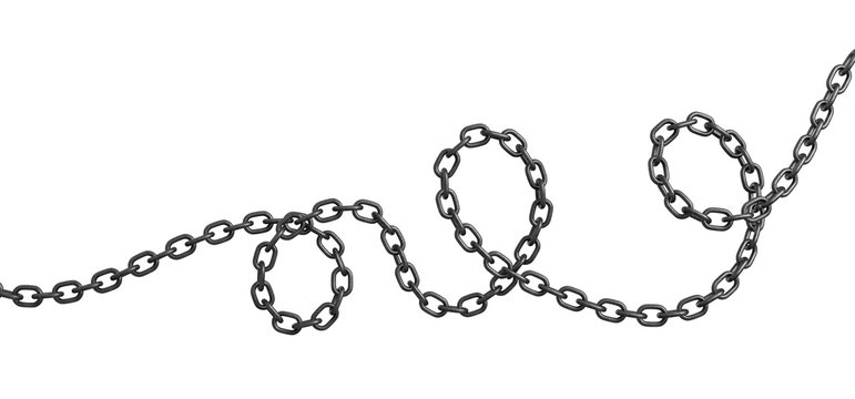 3d rendering of a single curved metal chain lying on a white background.
