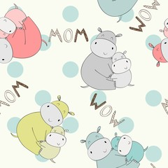 Seamless pattern. Vector hippo mom and baby