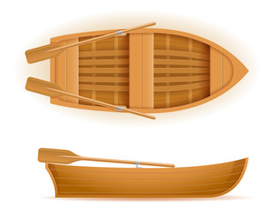 wooden boat top and side view vector illustration