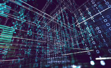 Fondo abstracto de tecnología e informática.Ciencia y datos en la nube.Codigo binario y programacion.Redes y big data