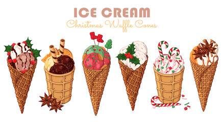 Group of vector colorful illustrations on the Christmas sweets theme; set of different kinds of ice cream in waffle cones decorated with berries, chocolate, nuts. Realistic isolated objects.