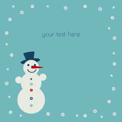 Place for your text snowman and snowflake-buttons in a retro color scheme