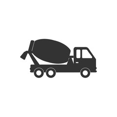 Concrete mixing truck icon. Vector illustration, flat design.