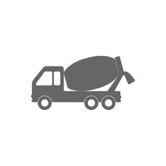Concrete mixing truck icon. Vector illustration, flat design.