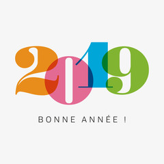 Happy new year 2019 card, numbers font. Editable vector design. French version.