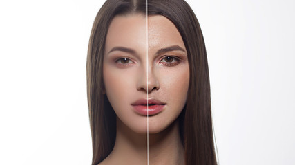 Beauty brunette before and after. Shows age changes, folds, wrinkles of the woman. The right half of the face in retouching. Long hair and brown eyes. Spa, injections, cosmetology, aging, cosmetics