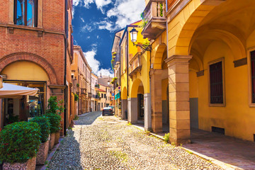 Picturesque buildings on one of the narrow medieval streets in Padua, Italy.