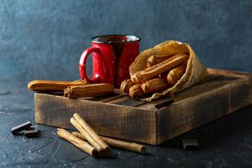 Traditional Spanish dessert churros.
