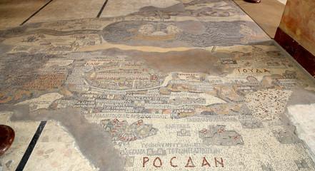 ancient byzantine map of Holy Land on floor of Madaba St George Basilica, Jordan, Middle East