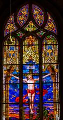 Photo sur Plexiglas Vitrail Jesus Crucifixion Stained Glass All Saints Castle Church Wittenberg Germany