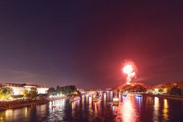 Feuerwerk und Schiffsparade auf dem Rhein in Koblenz