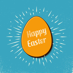 Retro easter egg card illustration for holiday background. Creative and vintage style image