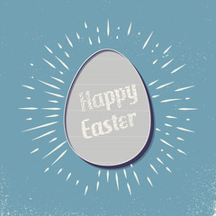 Retro easter egg illustration for holiday background. Creative and vintage style card