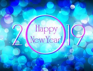Happy New Year 2019 vector blue greeting card, glittering defocused bokeh winter vector background