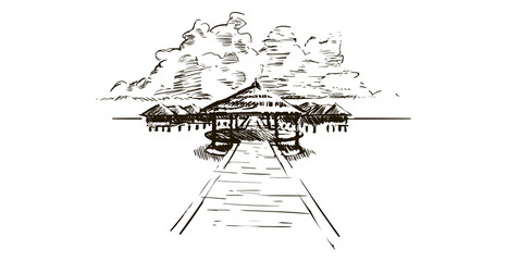 House by the sea on the beach Maldives.Hand drawn sketch Maldives illustration.