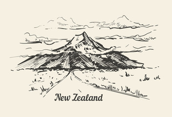 Fotomurales - New Zealand mountain valley hand drawn sketch illustration.