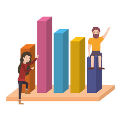 couple with statistics bars avatar character