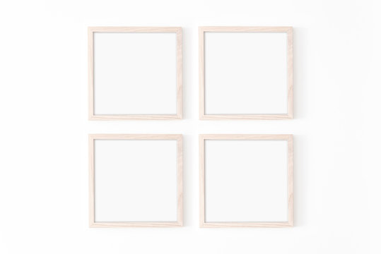 Set of four square frmes. Wooden frame mockup on white wall. Poster mockup. Clean, modern, minimal frame. Empty fra.me Indoor interior, show text or product