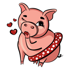 Cute pig blows kiss. Pink pig winks with eye. Fat adult pig sits in short skirt. Isolated Vector Illustration