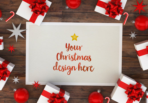Christmas Card and Gifts on Wooden Table Mockup