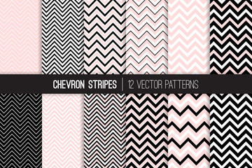 Chevron Vector Patterns in Blush Pink, Black and White. Set of Elegant Art Deco Style Zigzag Stripes Background Textures. Thick and Thin Lines. Repeating Pattern Tile Swatches Included.
