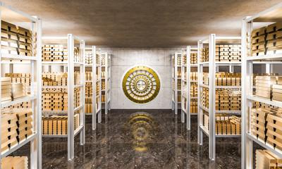 gold ingot in bank