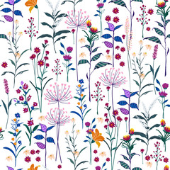 Trendy  wild Floral pattern in the many kind of flowers. Bright  botanical  Motifs scattered random. Seamless vector texture. Elegant template for fashion prints.