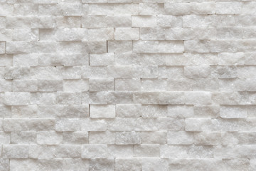 White modern decorative wall small marble brick background texture, decorative pattern quartz stone mosaic.  interior decoration of the room