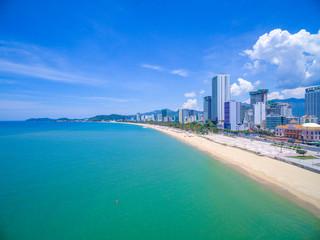 Panoramic beach in Nha Trang city, Khanh Hoa province, VietNam, high angle view