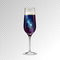 Realistic vector illustration of champagne glass  with space background inside