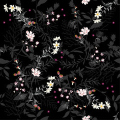 Dark Seamless pattern with leaves and botanical flowers. frorest motifs. Perfect for wallpapers, wrapping papers, textile, pattern fills, gift paper, summer greeting cards.