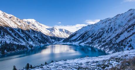 mountain lake in winter, Big Almaty Lake, Kazakhstan