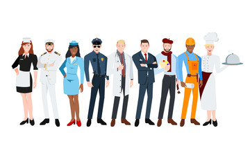 People of different professions. Maid, Captain, Stewardess, Policeman, doctor, businessman, painter, builder, chefe.Vector illustration in a flat style.