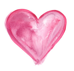 Big abstract light pink heart painted in watercolor on clean white background