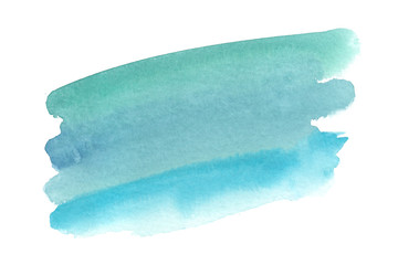 Light tender green to blue gradient painted in watercolor on clean white background