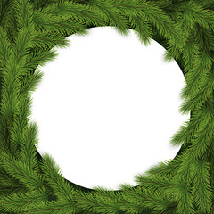 Christmas and New Year typography background with fir branches.