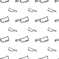Seamless pattern hand drawn kitchen axe. Doodle black sketch. Sign symbol. Decoration element. Isolated on white background. Flat design. Vector illustration