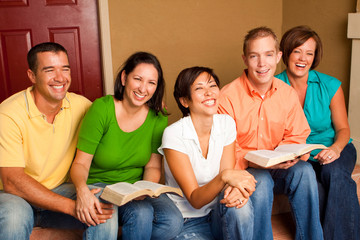 Small Group Bible Study. Multicultural small group.