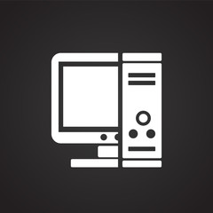 Computer pc on black background icon