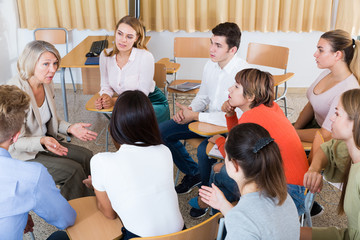Student group discussing