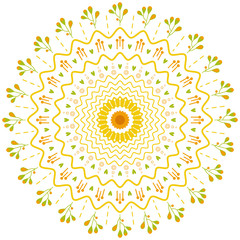 Summer dandelion flower pretty mandala with leaves, lines and waves color illustration on white background. Vector for print, decor, fabric, fashion. Nature style