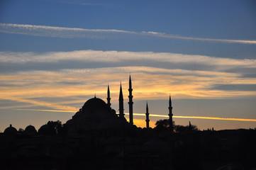 Historic Suleymaniye Mosque shot at beautiful sunset, Istanbul, Turkey