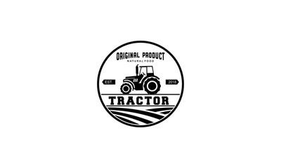 tractor vintage logo design template
