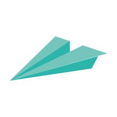 Papierflugzeug - mint, grün - Vektor