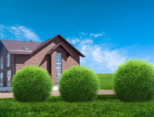 new house with garden in rural area