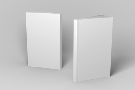 Two standing soft cover 3D illustration mock-up books.
